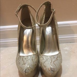 Baker gold heels with sequins
